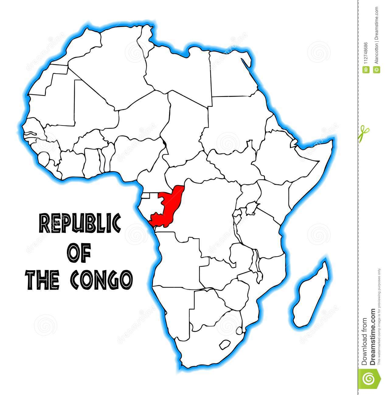 Congo On Africa Map.Republic Of The Congo Africa Map Stock Vector Illustration Of