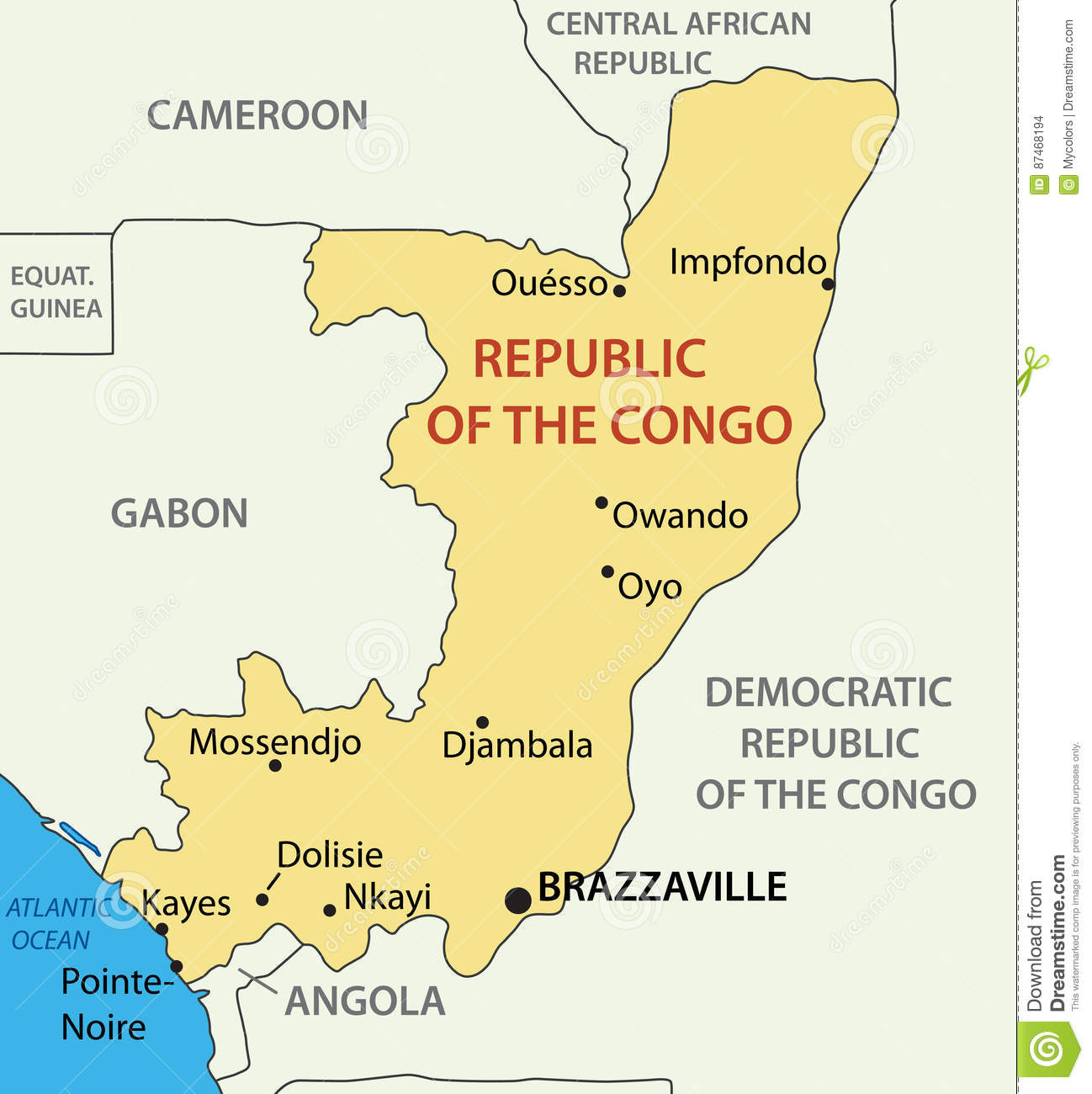 Republic Of The Congo - Vector Map Stock Vector - Illustration of ...