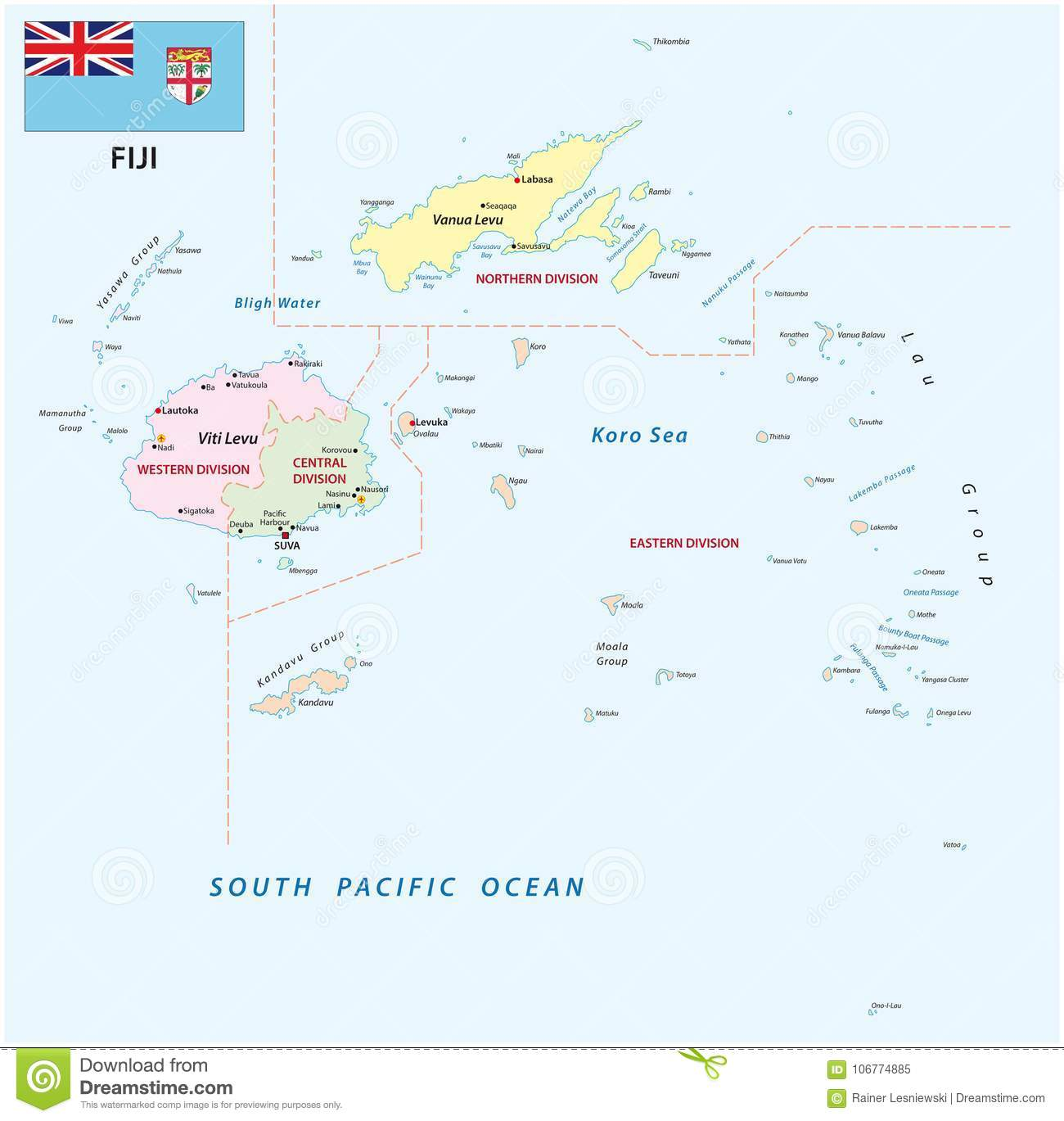 Republic Of Fiji Administrative And Political Vector Map With Flag - Republic of fiji map