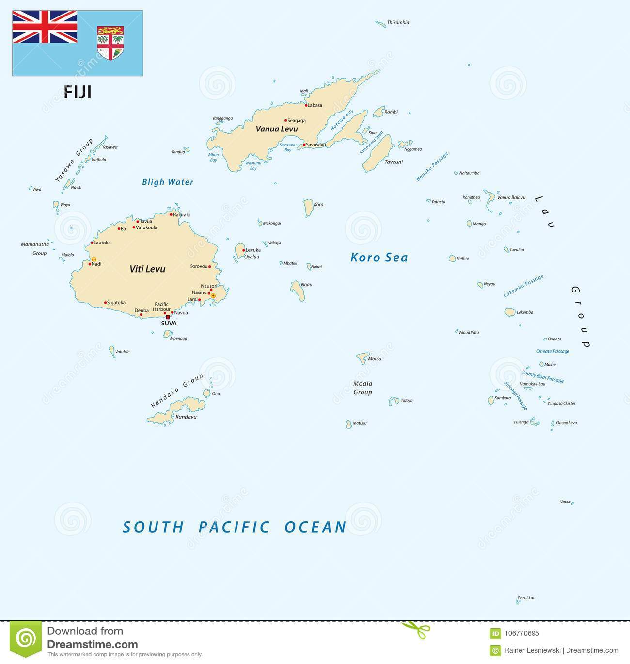Republic Of Fiji Vector Map With Flag Stock Vector Illustration - Republic of fiji map