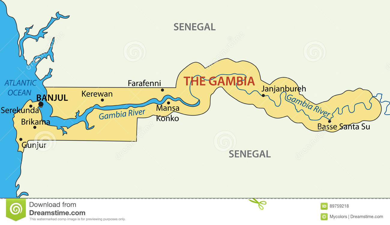 Republic Of The Gambia Vector Map Stock Vector Illustration Of