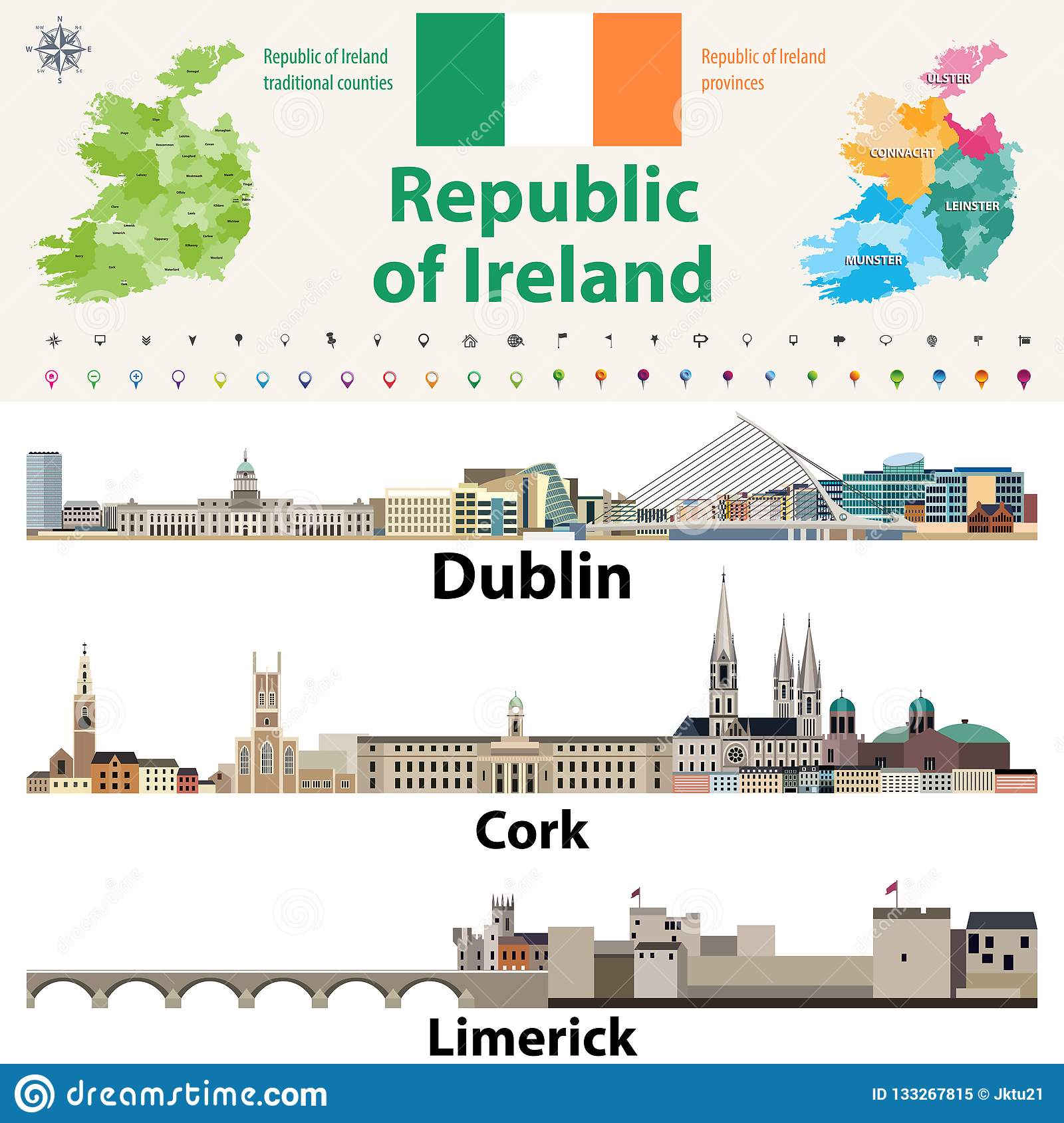 Map Of Ireland With Major Cities.Republic Of Ireland Traditional Countries And Provinces Map And
