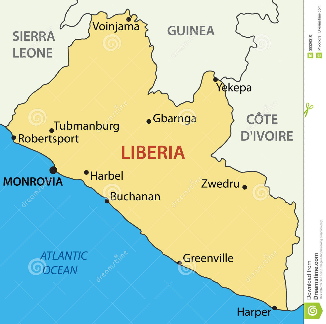 Liberia On Africa Map.Republic Of Liberia Vector Map Stock Vector Illustration Of