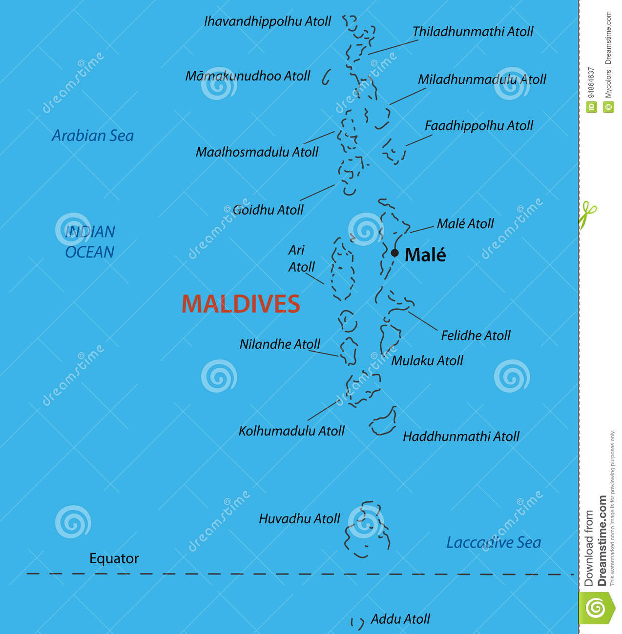 Republic Of The Maldives - Vector Map Stock Vector - Illustration of ...