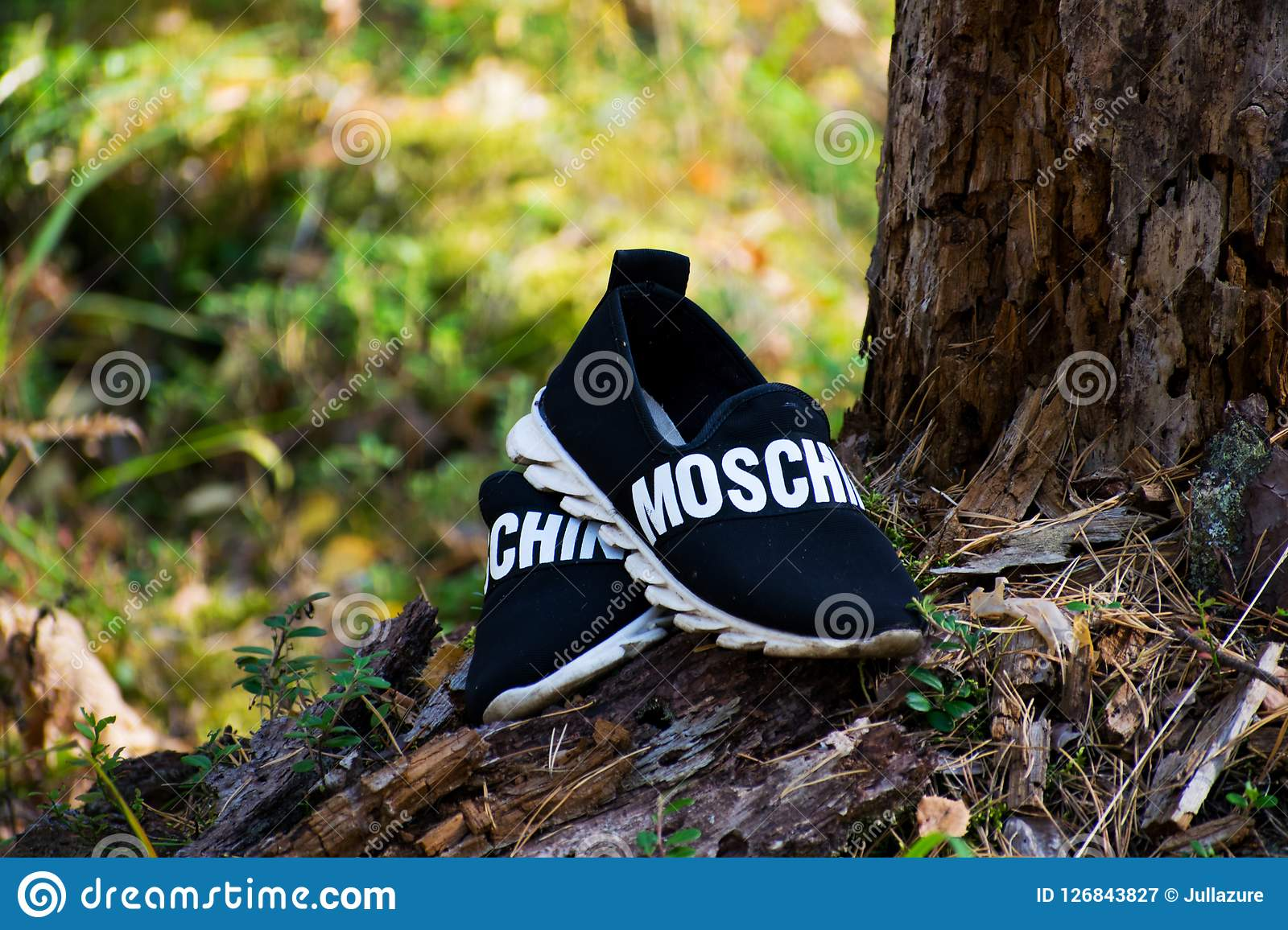 The Republic of Mari El, Russia - September 16, 2018 Men`s shoes, Moschino unisex shoes