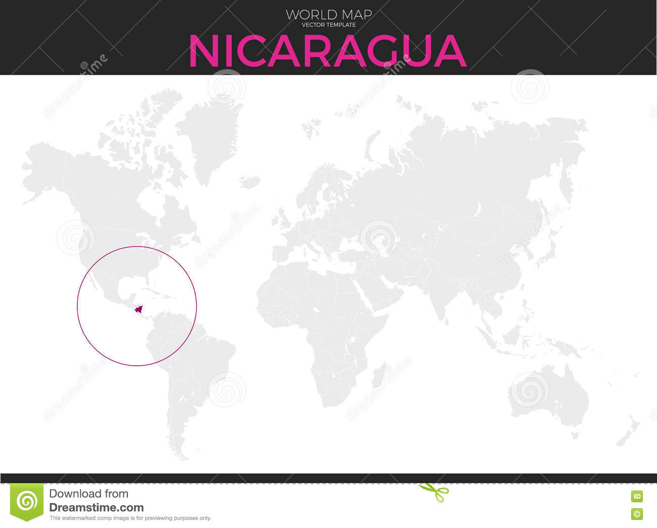 Nicaragua Location On World Map.Nicaragua Location Map Stock Vector Illustration Of Area 73676797
