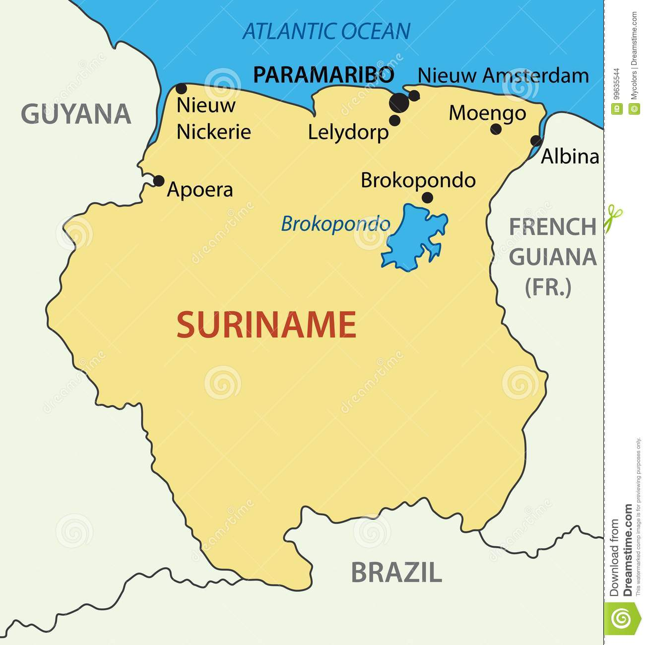 Republic Of Suriname Vector Map Stock Vector Illustration Of