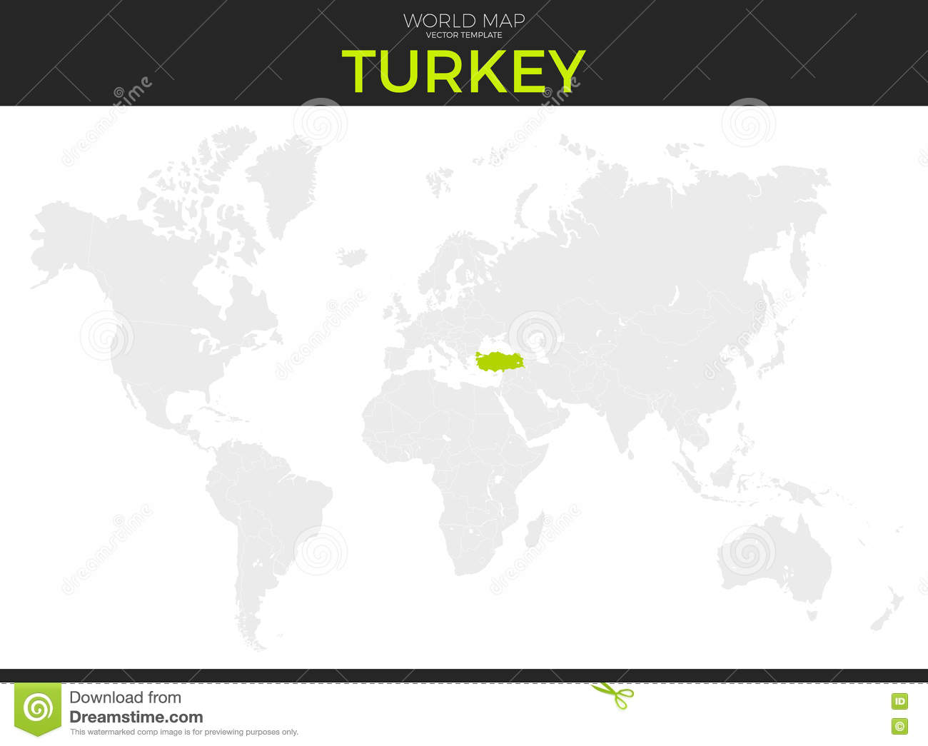 Turkey Map Of World.Republic Of Turkey Location Map Stock Vector Illustration Of
