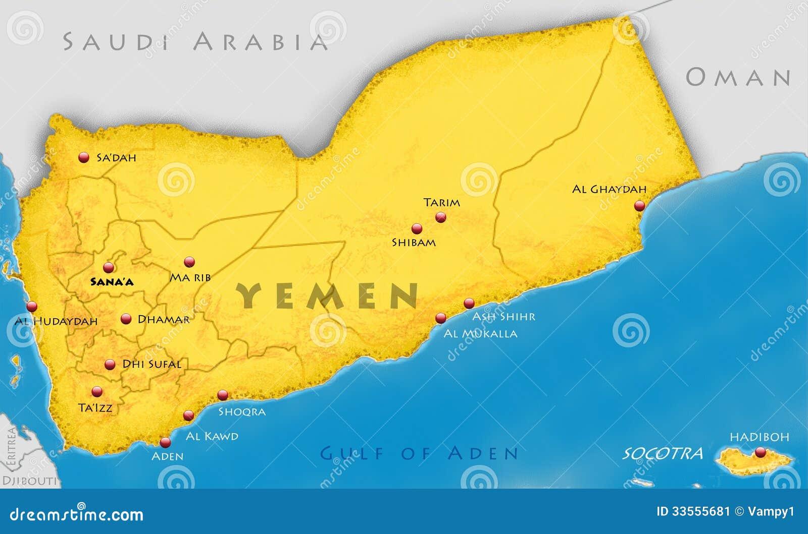 Republic Of Yemen Map Stock Image Image - Map of yemen