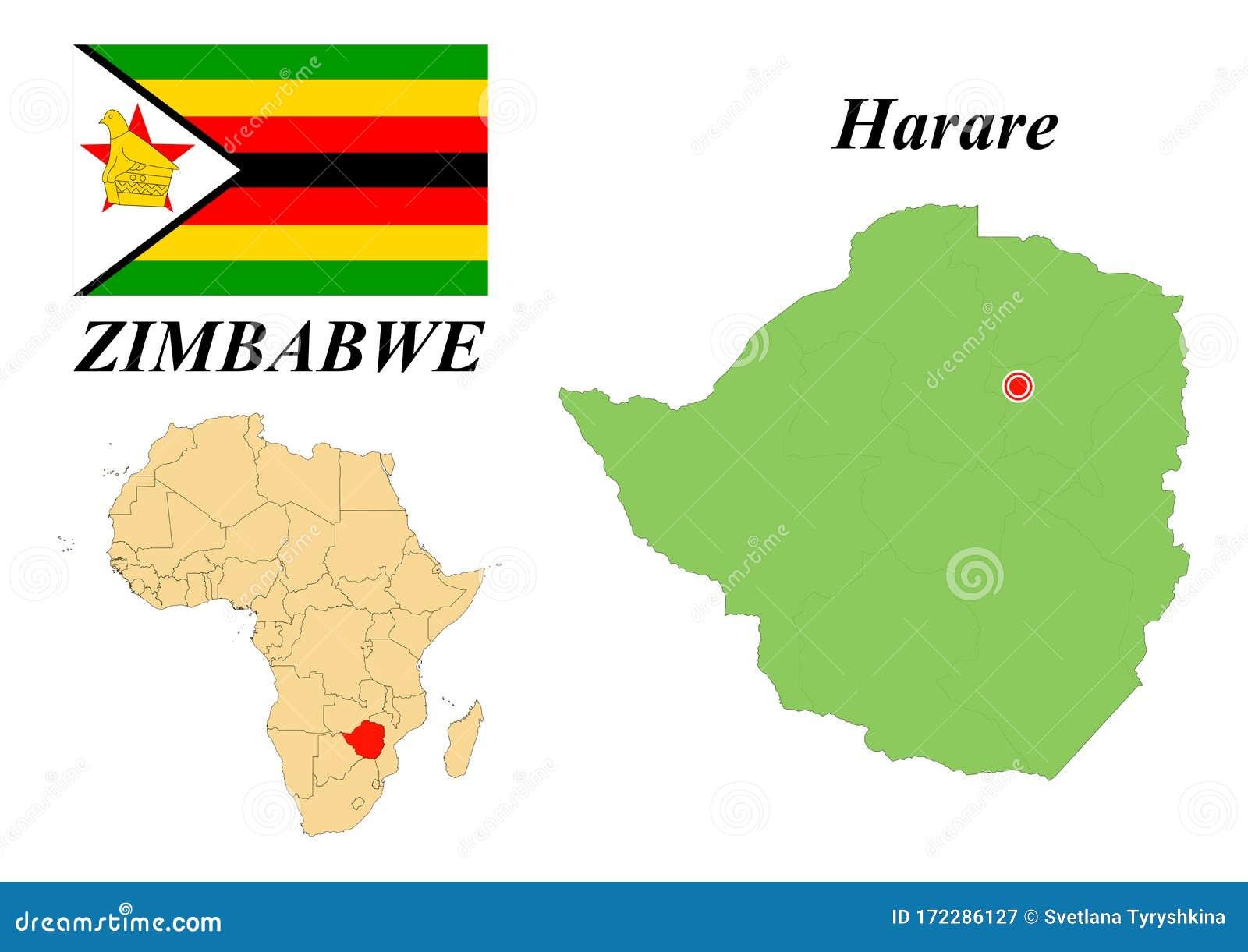 Flag Map Capital Of Zimbabwe Stock Vector Illustration Of Nation