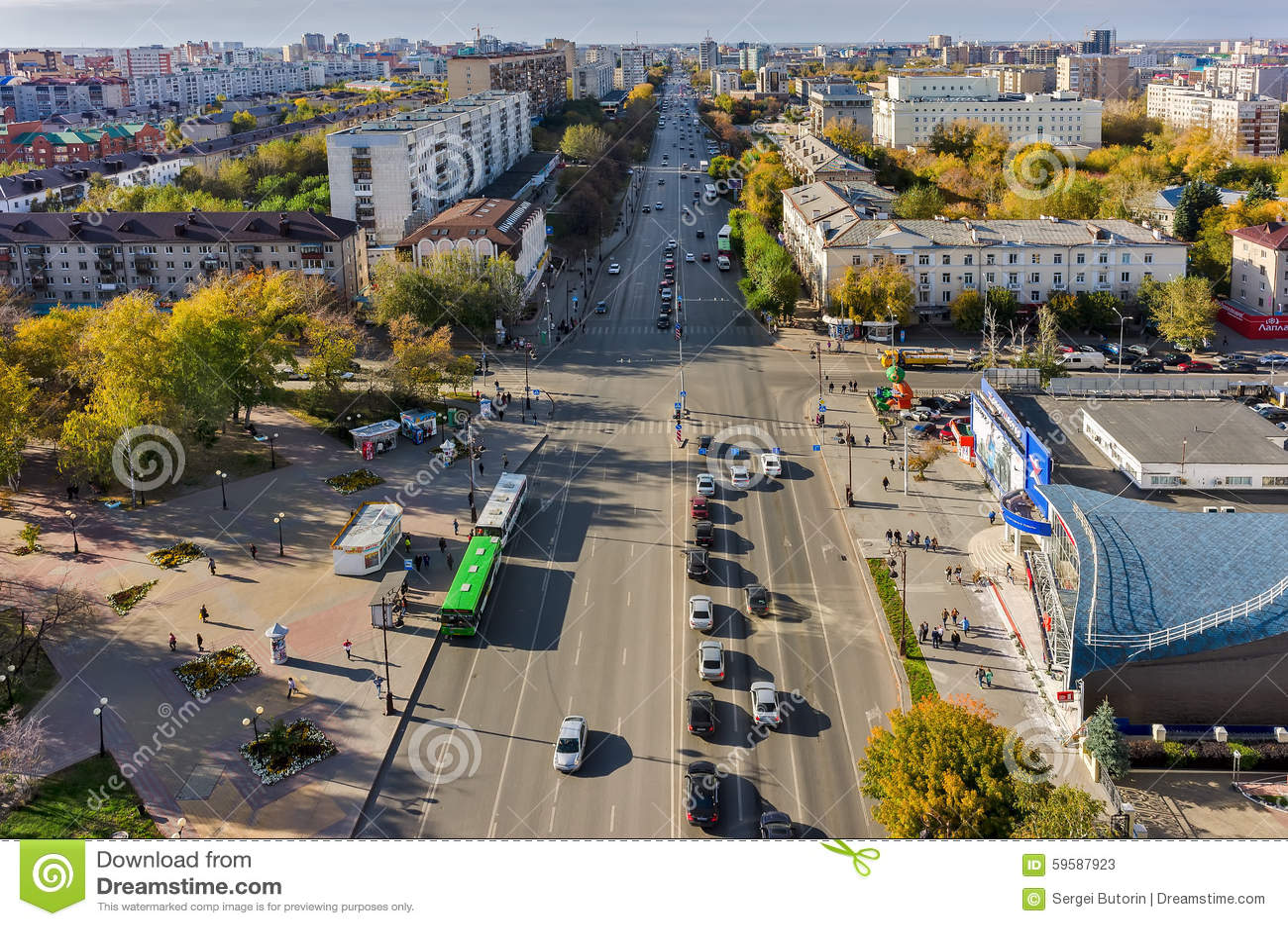 Tyumen Russia  city photo : Tyumen, Russia September 17, 2015: Aerial view onto Republics street ...