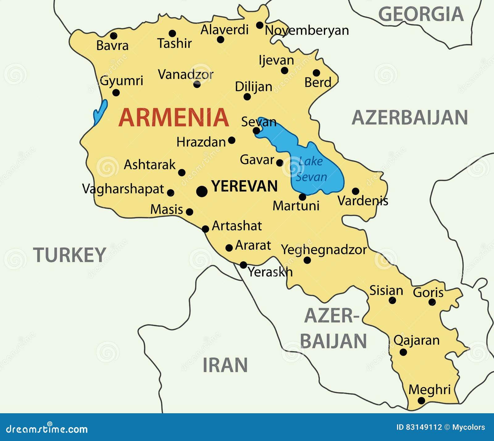 Republik Armenien Karte Vektor Abbildung Illustration Von Eurasia 83149112