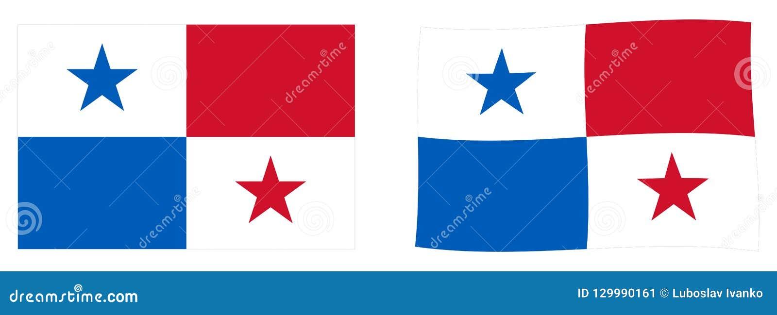 Republik av den Panama flaggan Enkel och vinkande litet version