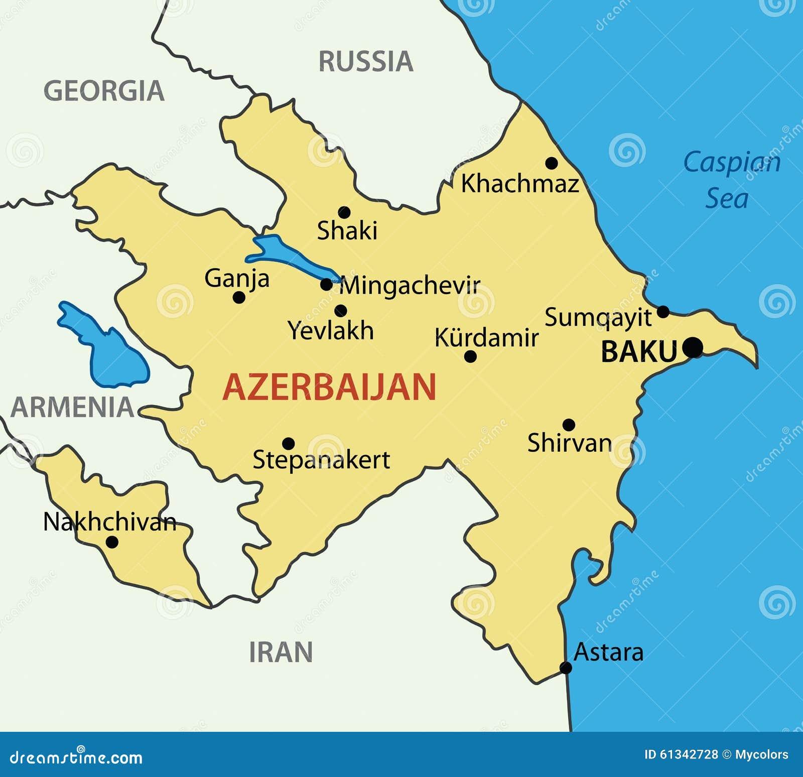 Republik Von Aserbaidschan Karte Vektor Abbildung Illustration Von Rand Gegend 61342728