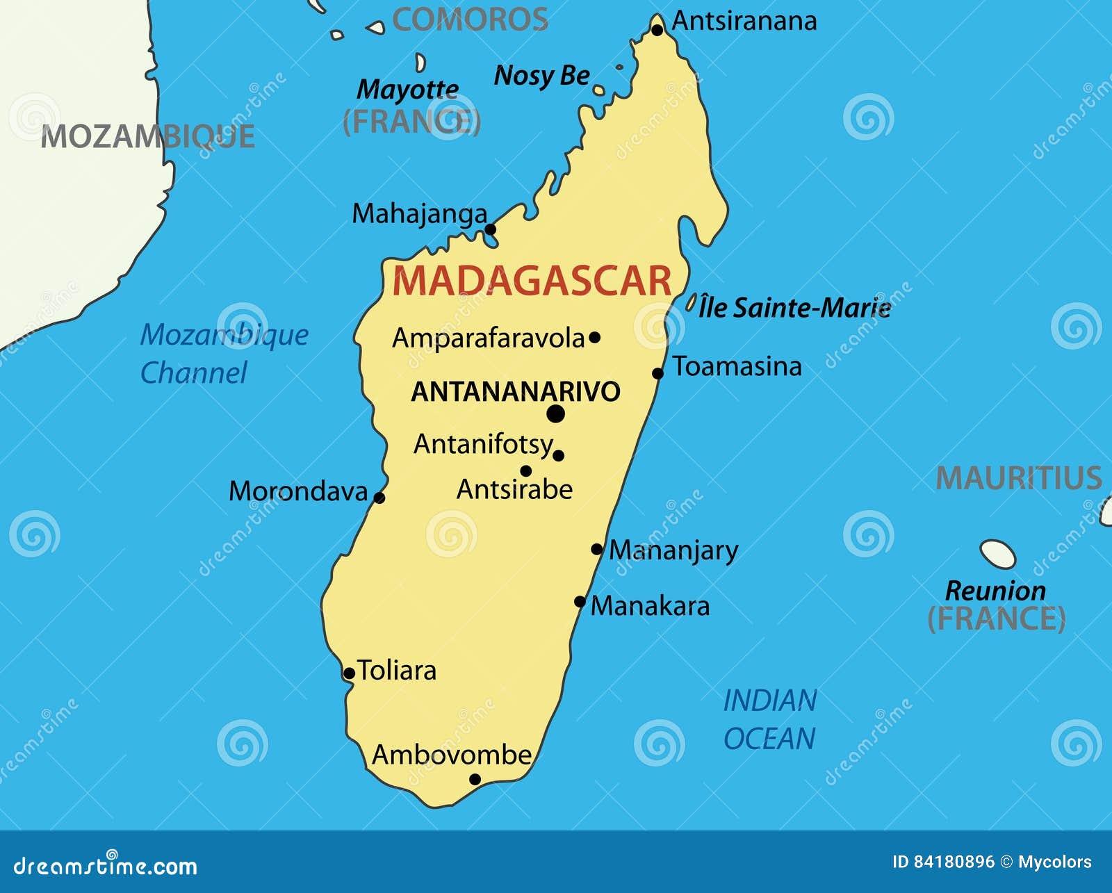 Madagaskar Karte.Republik Von Madagaskar Karte Des Landes Vektor Abbildung