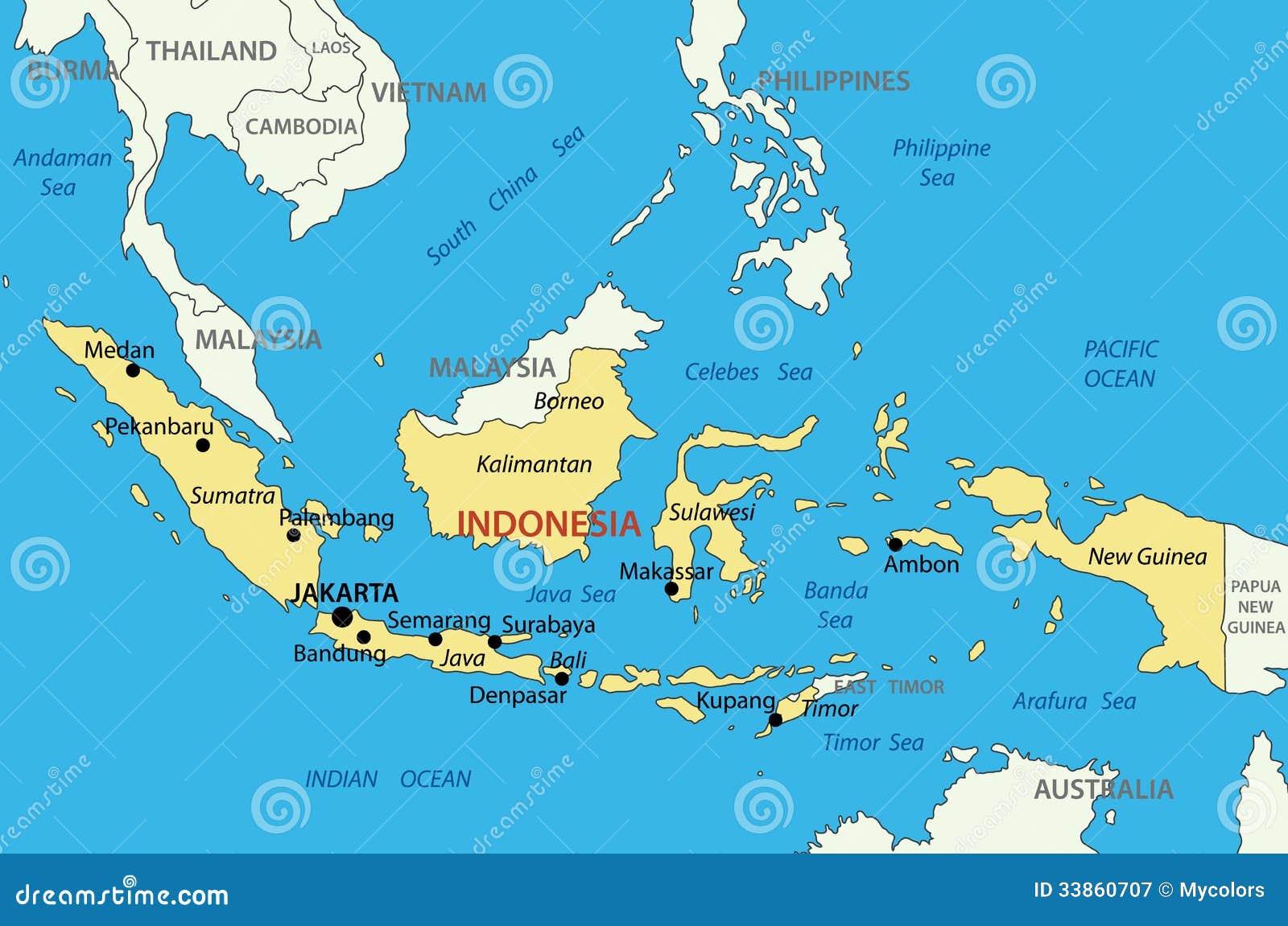 republika indonezja - mapa ilustracja wektor  ilustracja z u0142o u017conej z mapa