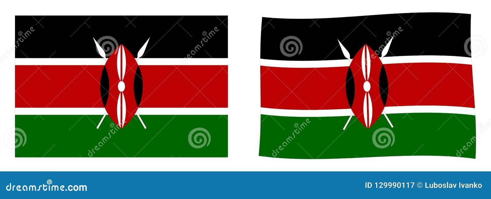 Republika Kenja flaga Prosty i nieznacznie machający wersję