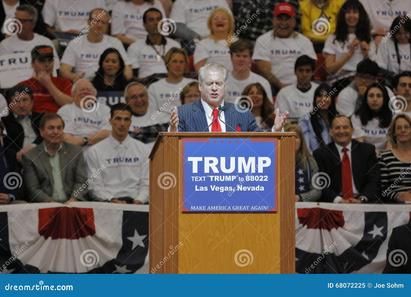 Republikan Donald J Presidents- trumf samlar natten för Nevada Caucus, det södra punkthotellet & kasinot, Las Vegas, Nevada