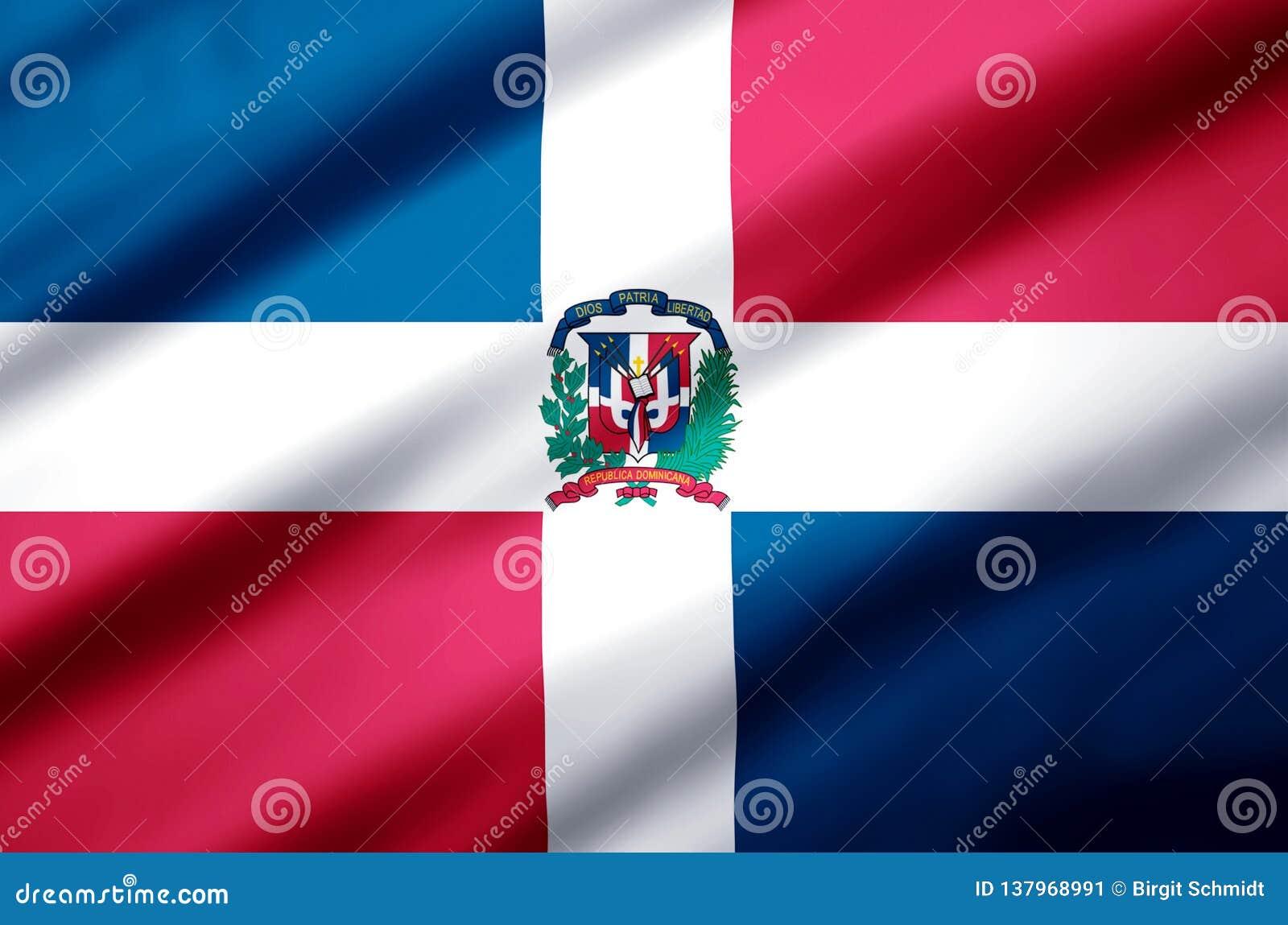 Republiki Dominikańskiej realistyczna chorągwiana ilustracja