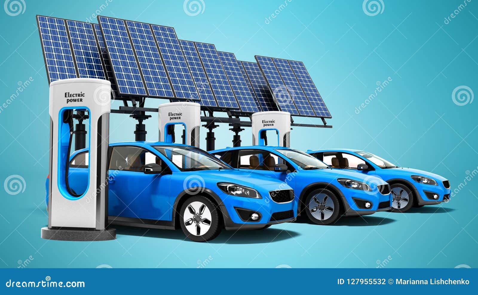 Repuesto eléctrico del concepto para los coches eléctricos con la opinión de los paneles solares