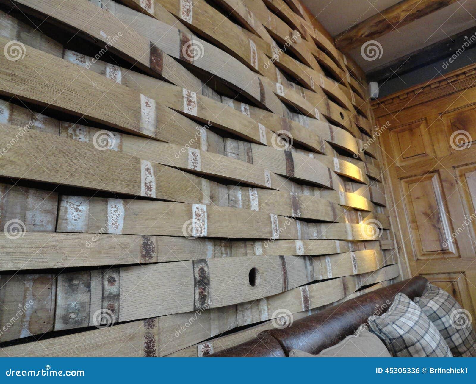 Repurposed Beer Barrels Make A Unique Wall Stock Photo