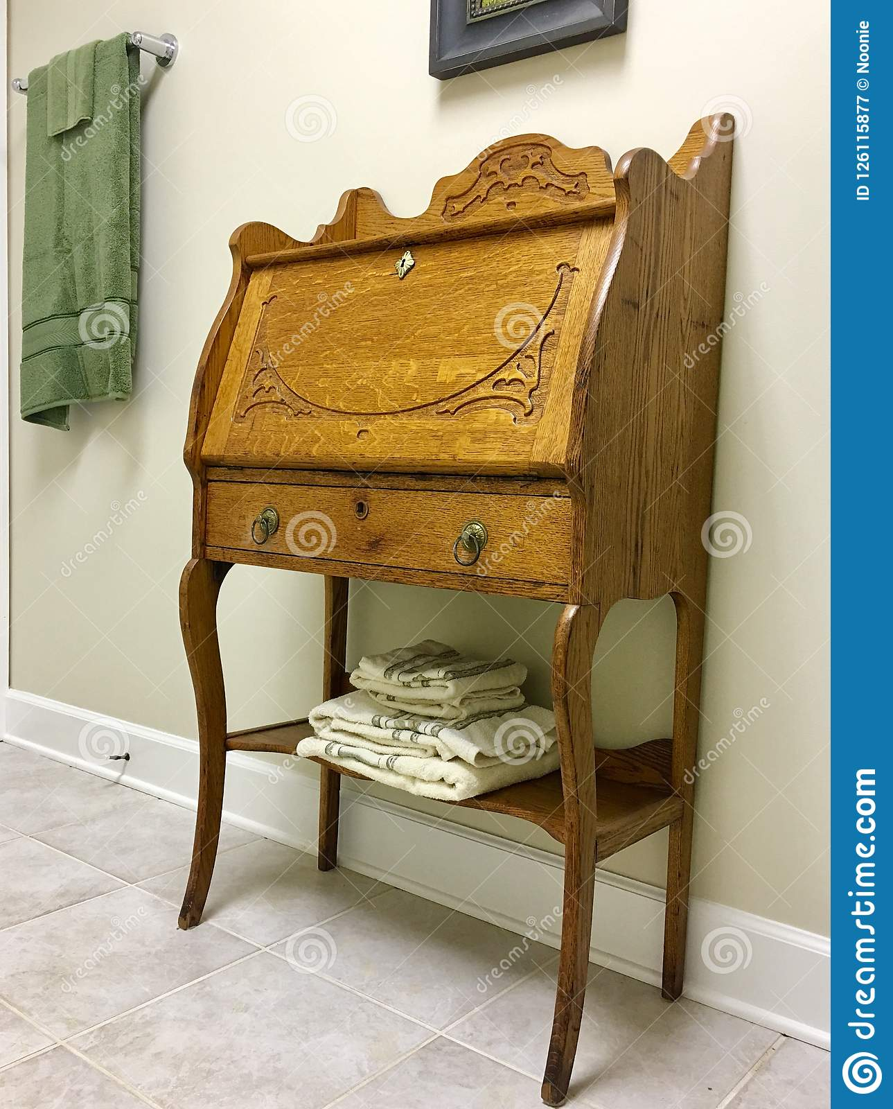 Repurposed Furniture In Bath Stock Image Image Of Interior Wood