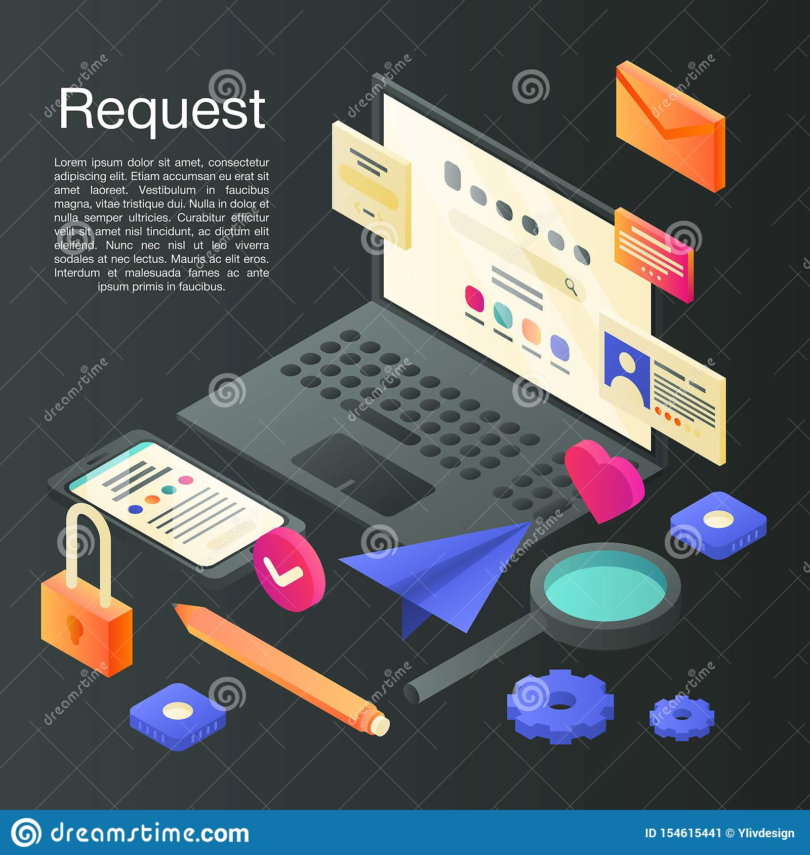 Request concept background, isometric style