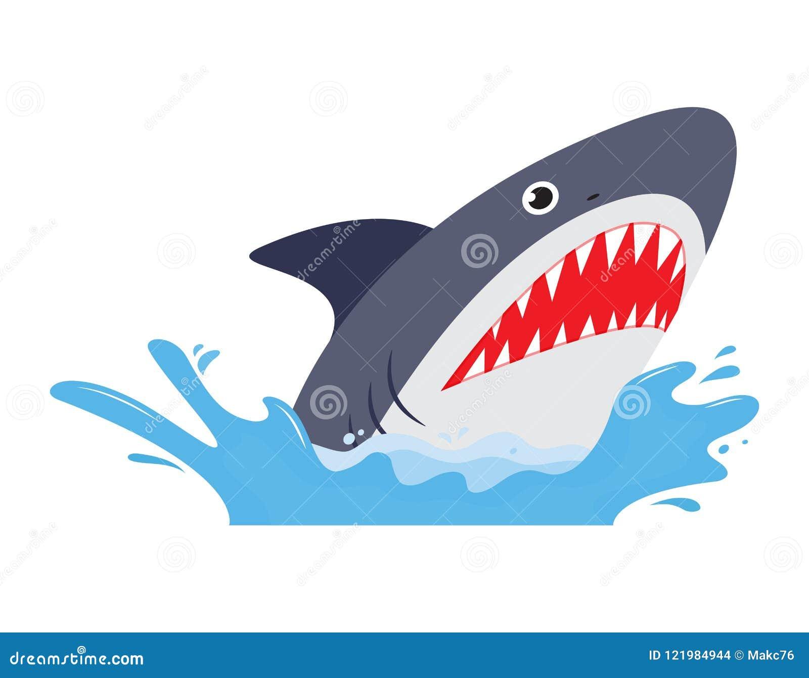Requin avec la bouche ouverte et les dents pointues