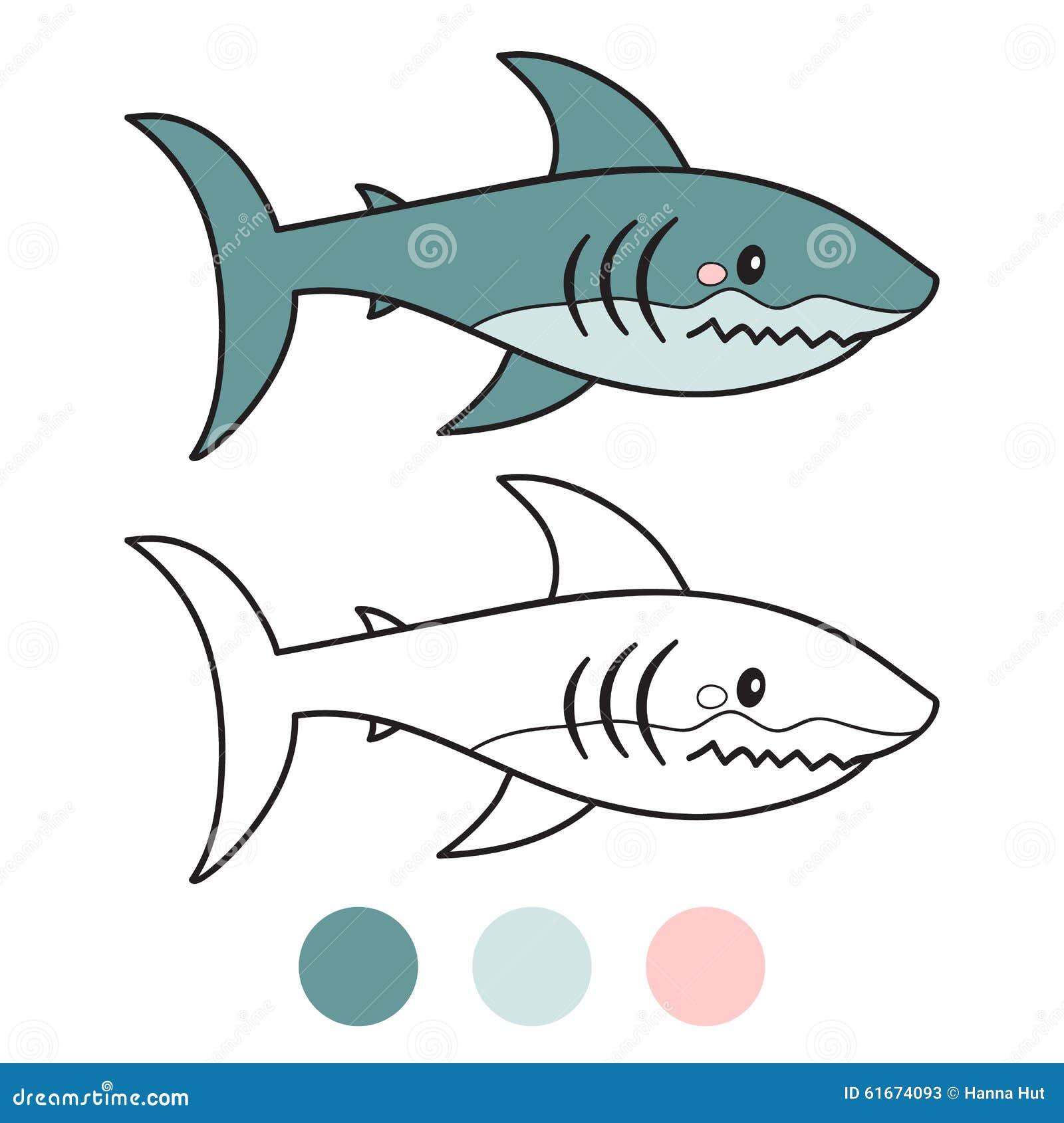 Requin page de livre de coloriage illustration de vecteur - Modele dessin requin ...
