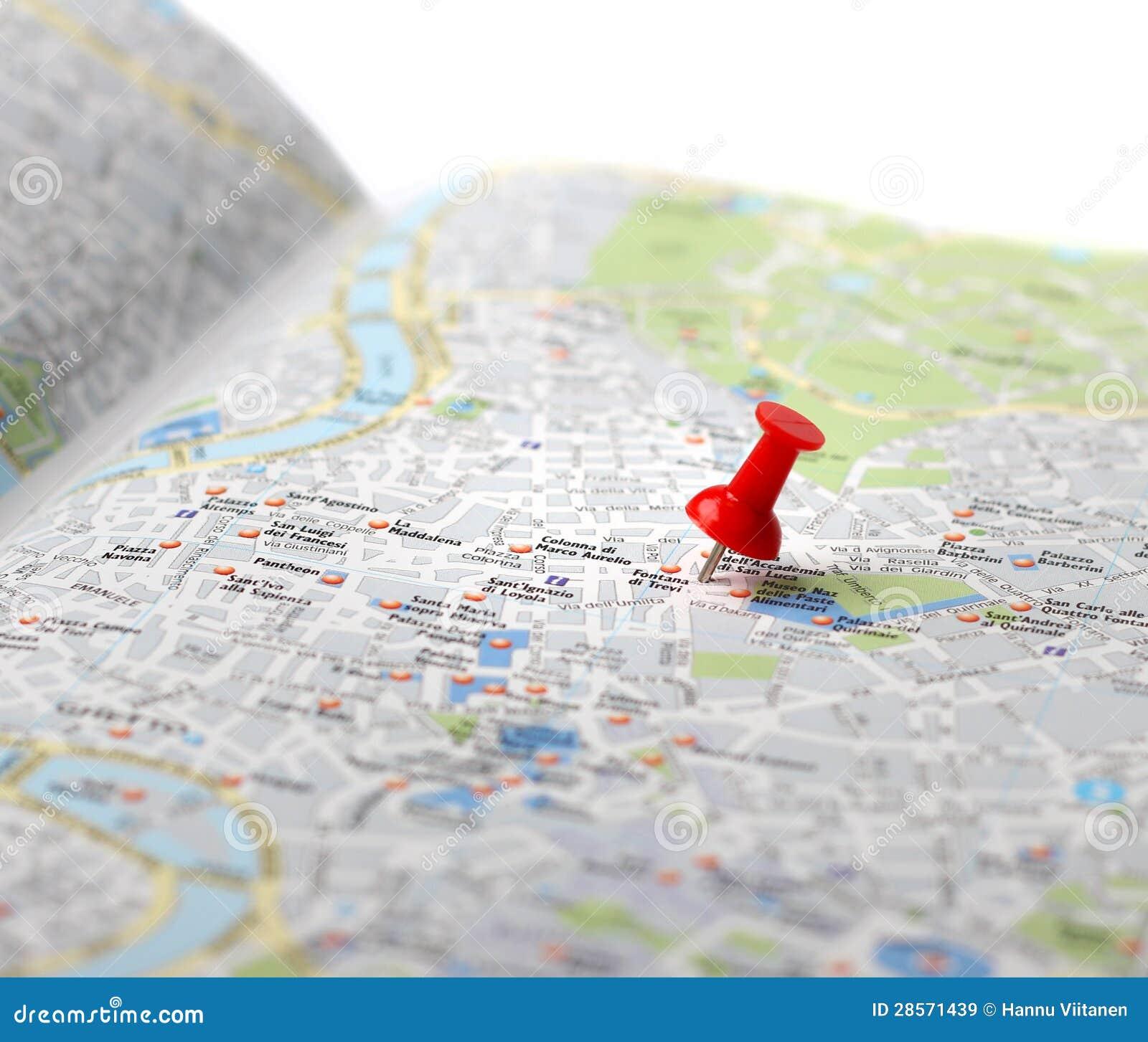 Resa destinationen kartlägger push klämmer fast