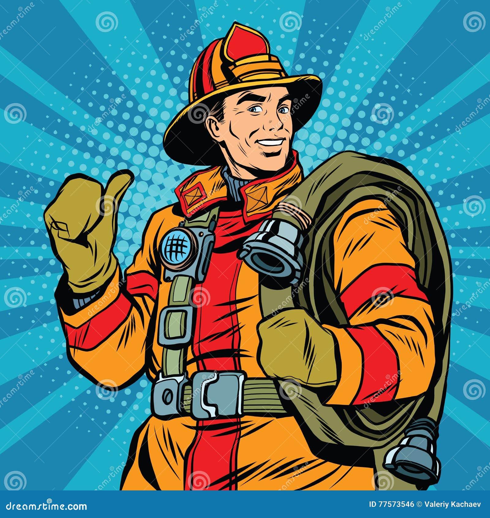 Rescate al bombero en casco seguro y uniforme el arte pop