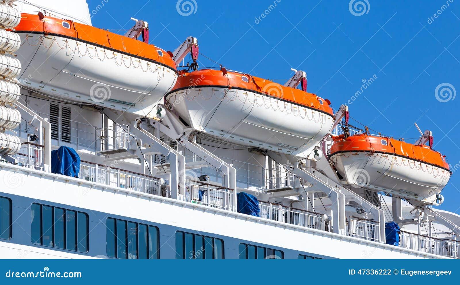 Rescue Boats On Big Passenger Ship Stock Photo Image