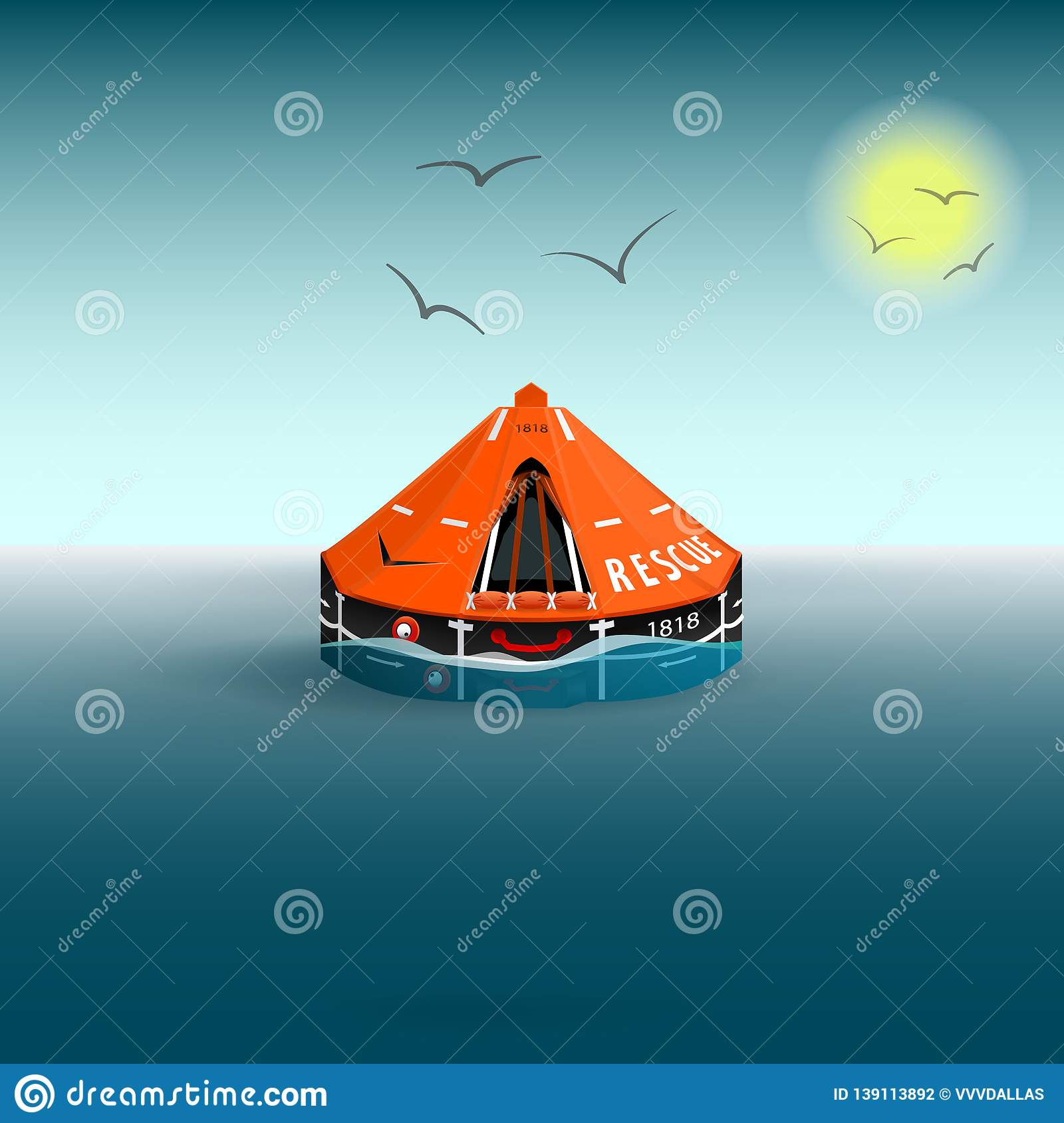 Rescue a orange raft on the sea. Gulls and the sun. Salvation on the water. Vector illustration