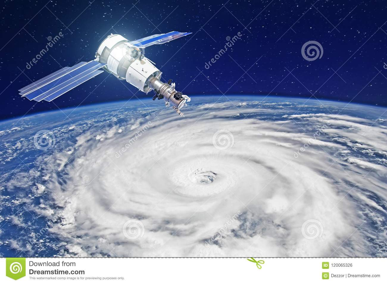 Research, probing, monitoring of tracking in a tropical storm zone, a hurricane. Satellite above the Earth makes measurements of t