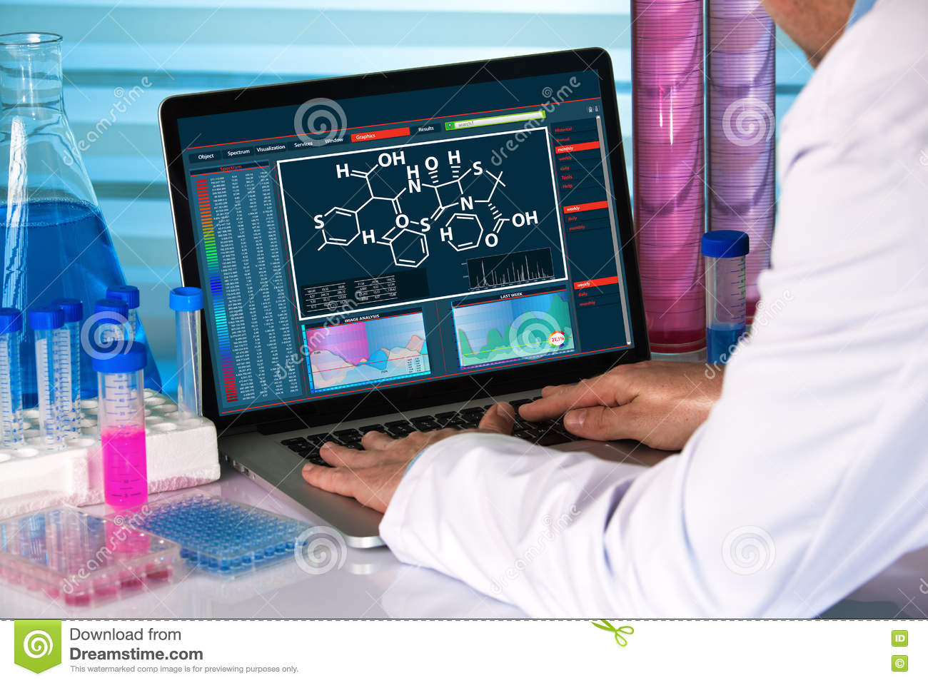 Research scientist using computer chemistry lab stock photo image download comp urtaz Images