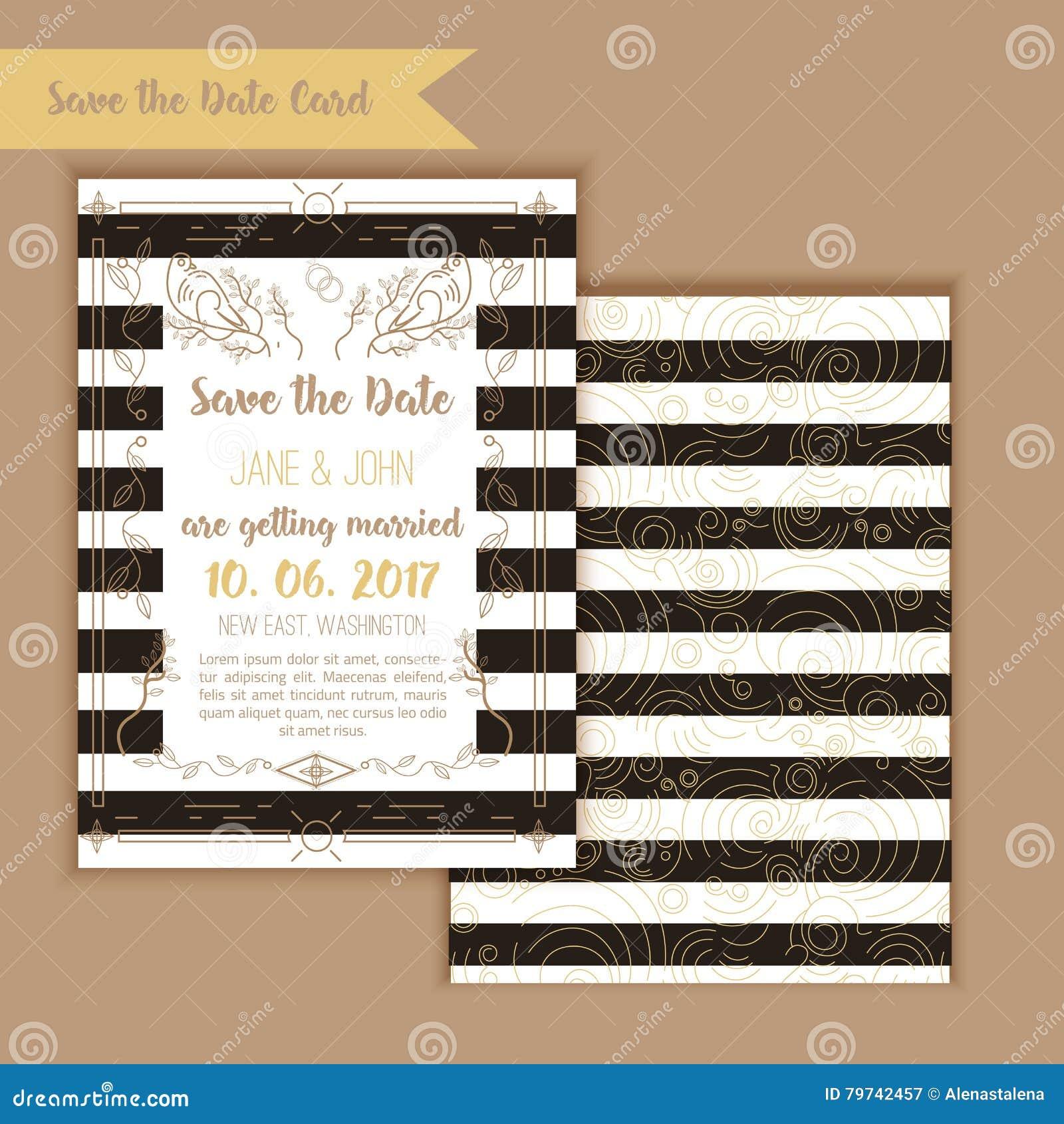 Reserva imprimible la fecha con el marco geométrico del oro en estilo linear elemento para el diseño con el menú y las tarjetas d