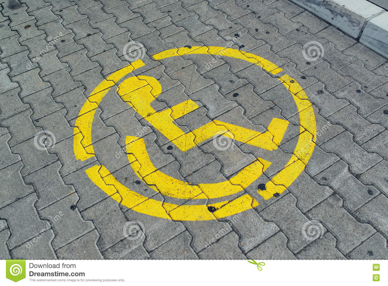 Reserved parking space lot for disabled person