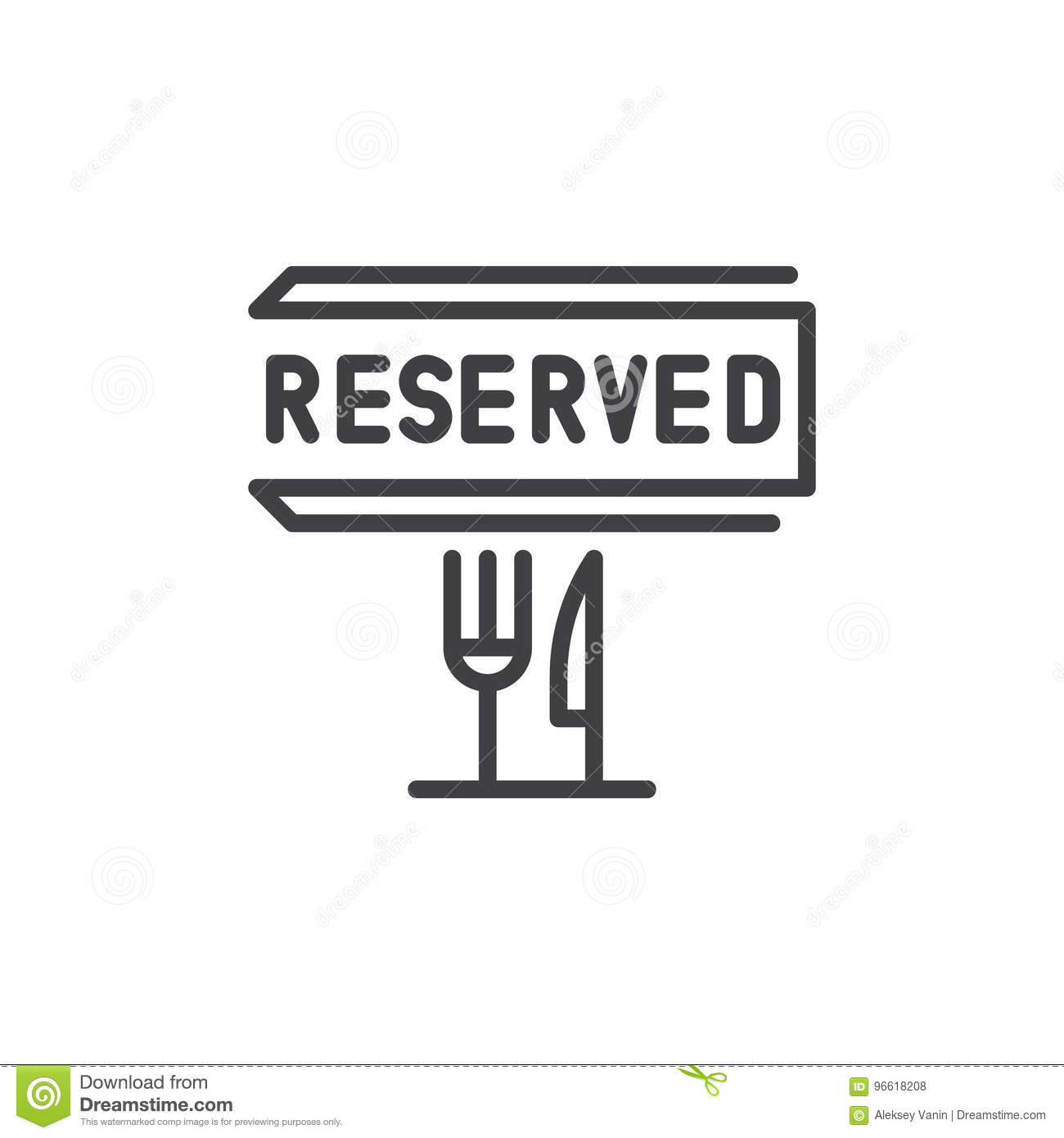 Inserting Special Characters Reserved Table Vector Icon Reservation