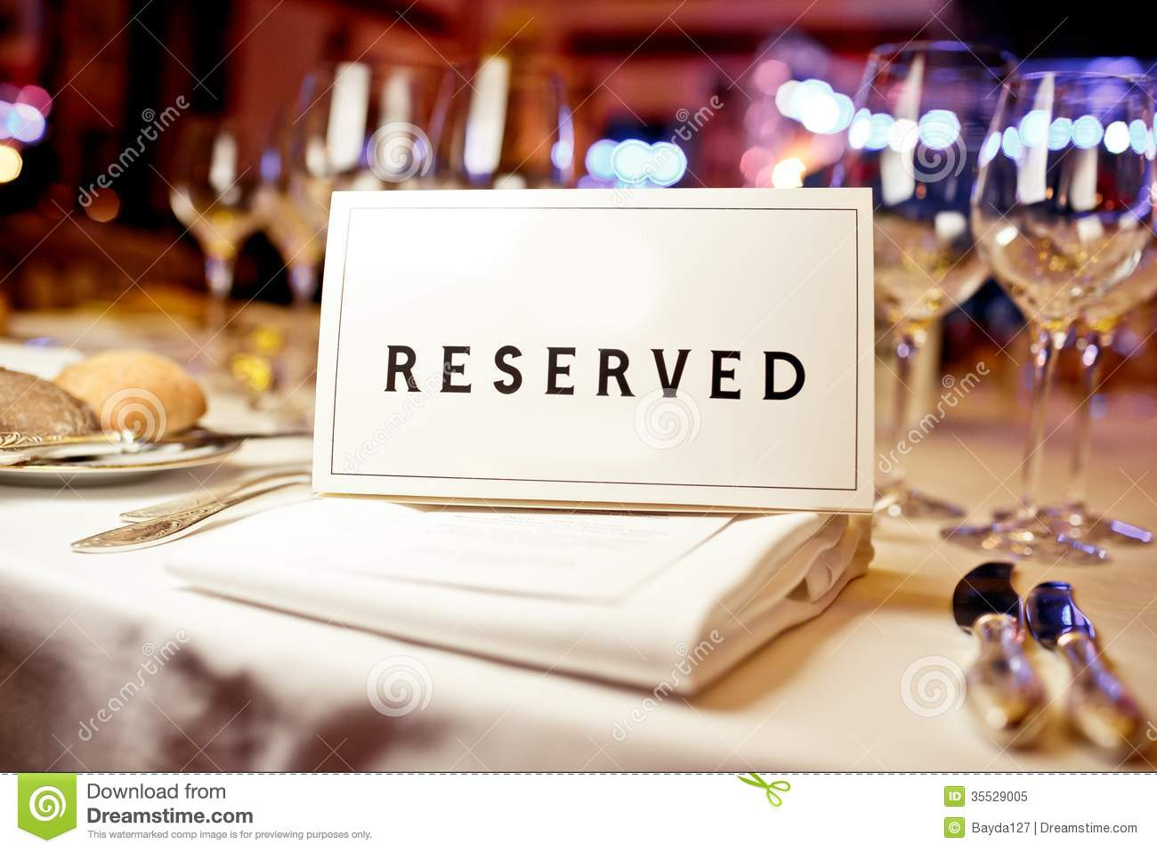 Reserved sign stock image image of expensive dining for Table a diner
