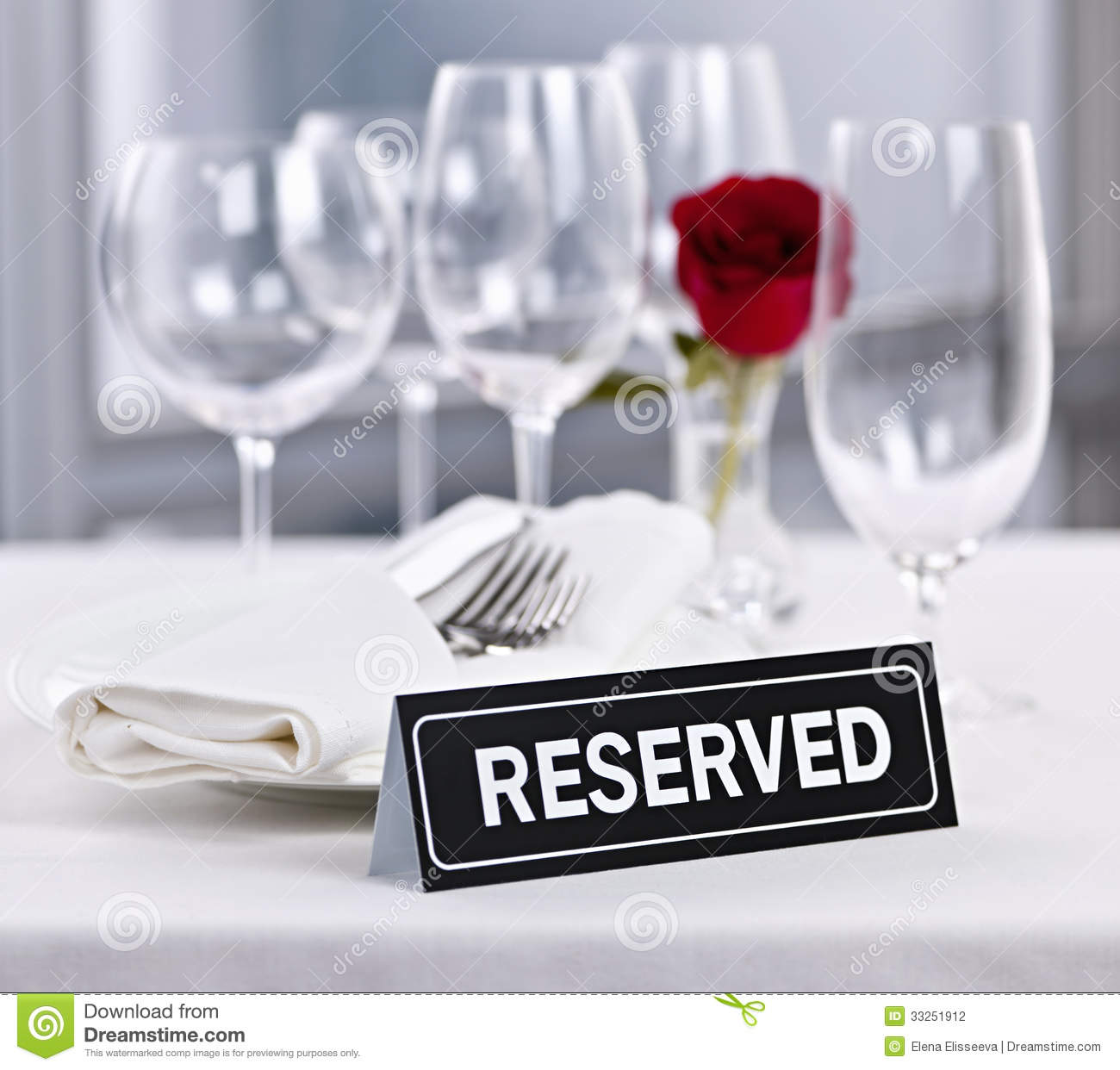 Reserved Table At Romantic Restaurant Stock Photography
