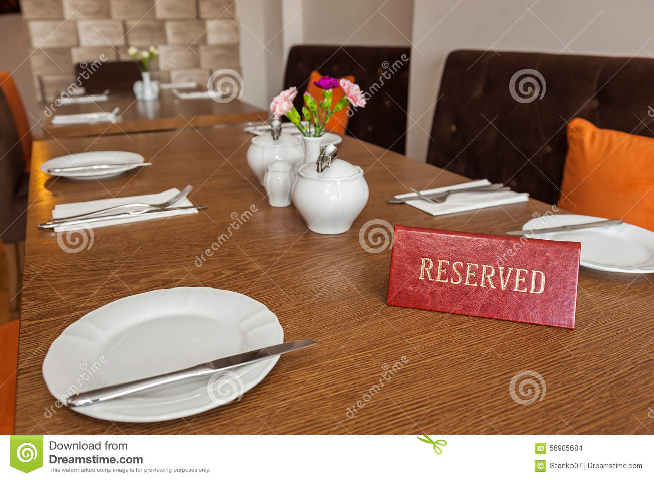 Reserved Table Stock Photo - Image: 56905684