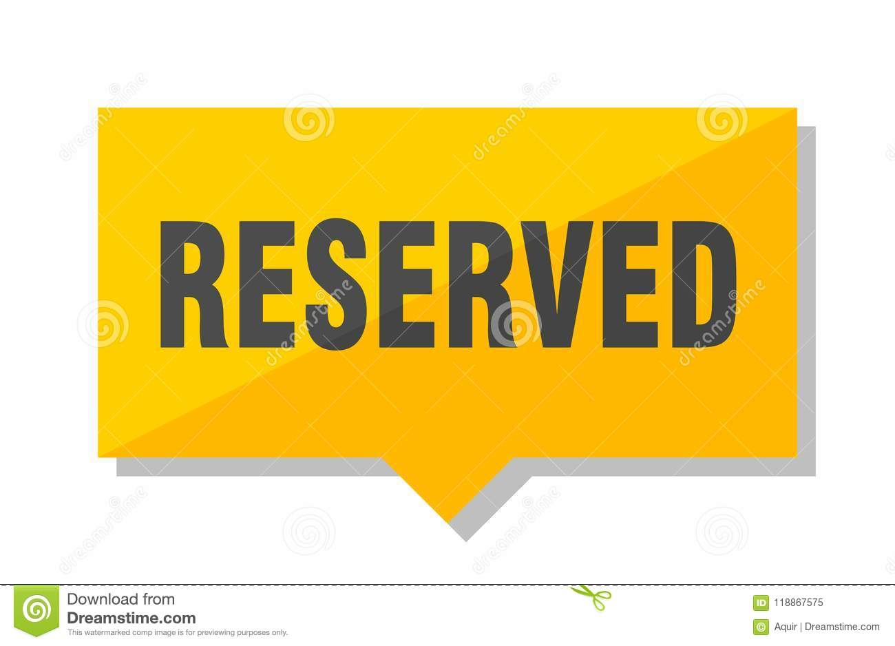 Reserved price tag