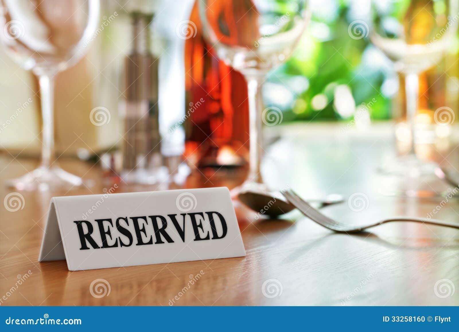 Reserviertes Tabellenzeichen des Restaurants