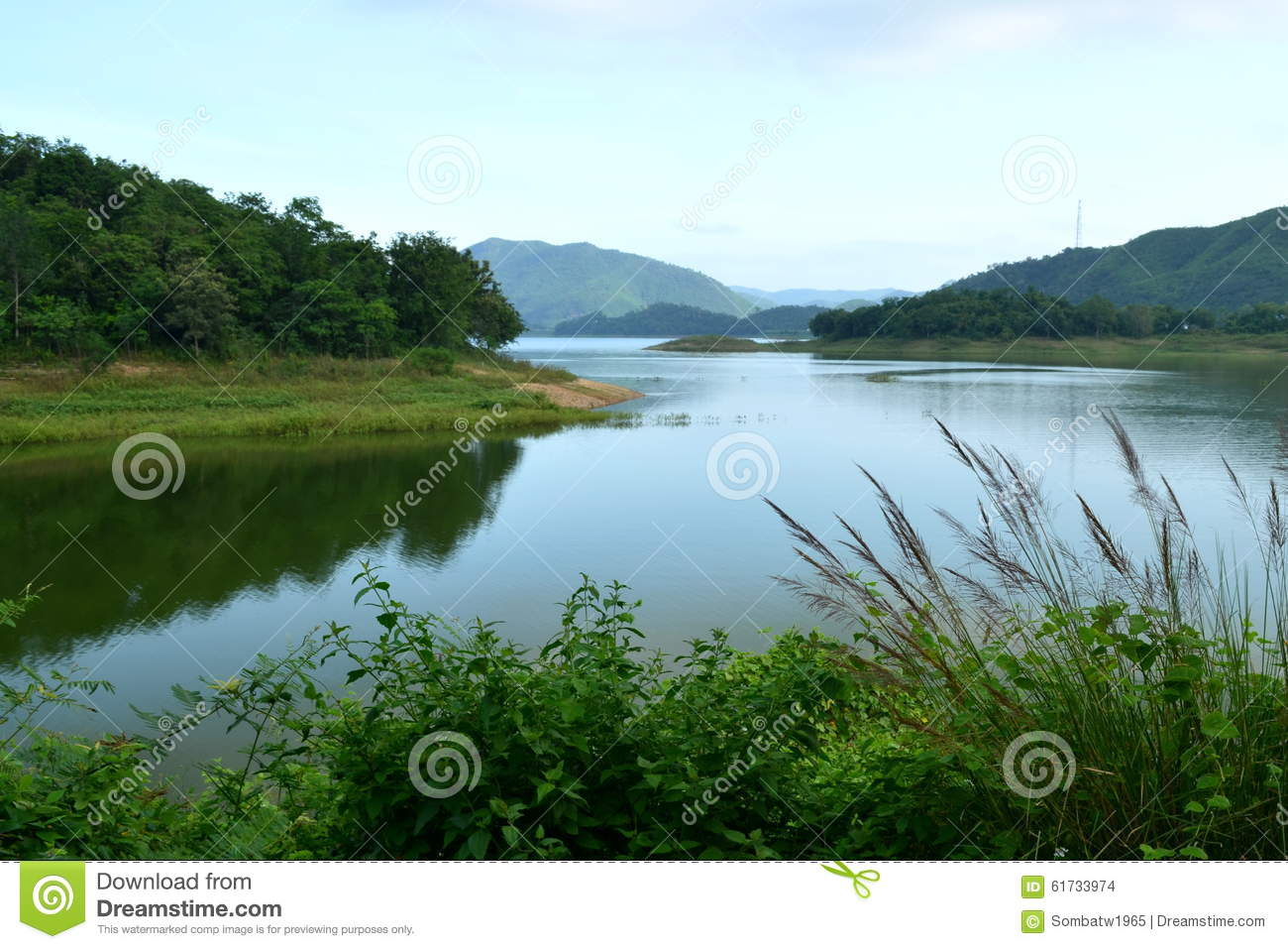 Reservoir In Rainy Season Stock Photo - Image: 61733974