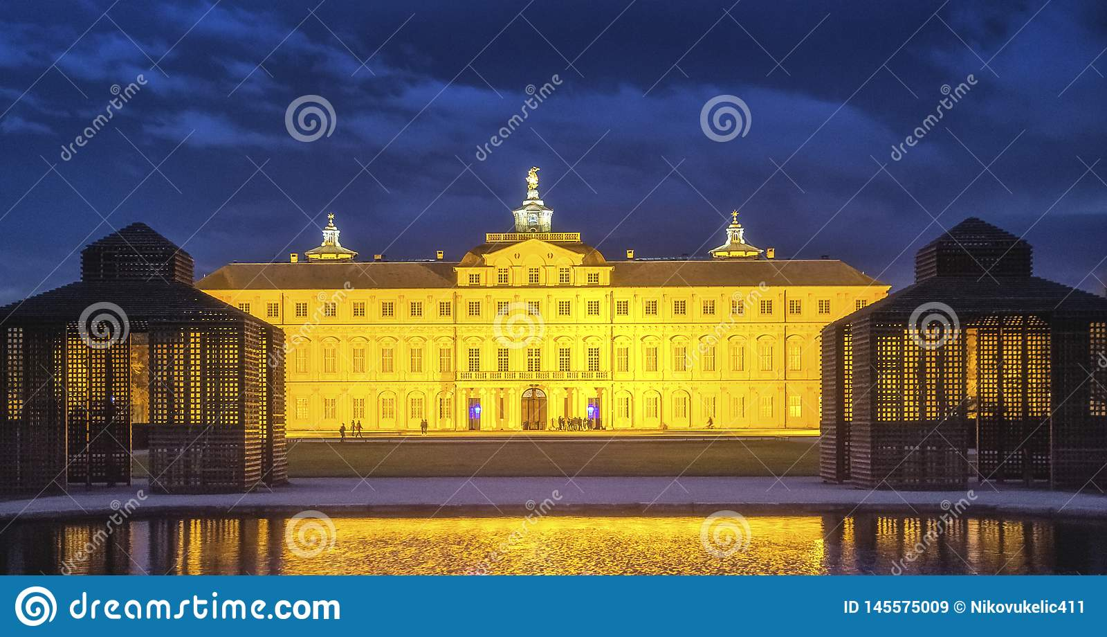 Residence castle in Rastatt,Germany at night