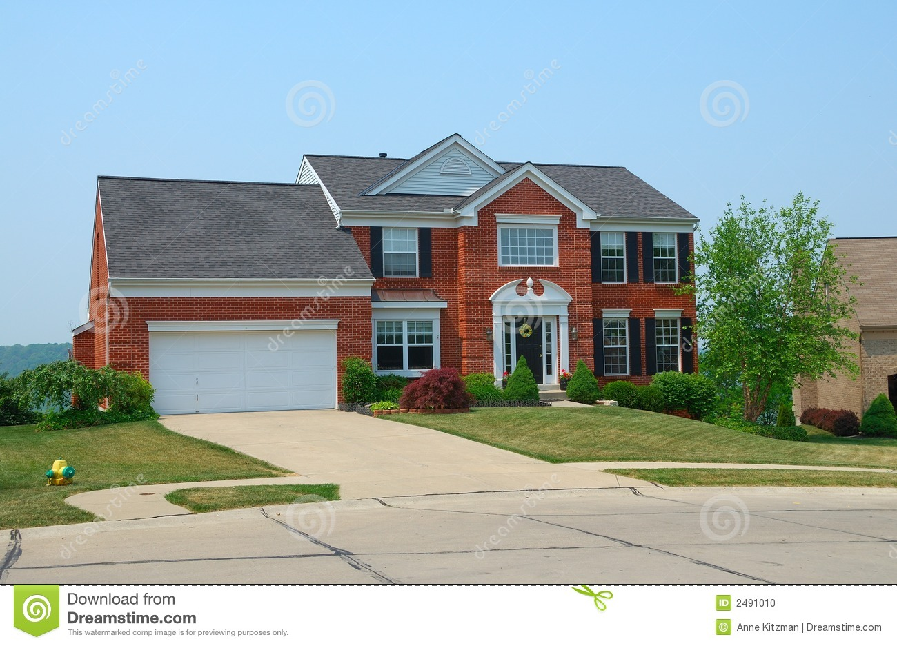 Residential 2 Story Brick Home Stock Photo Image 2491010