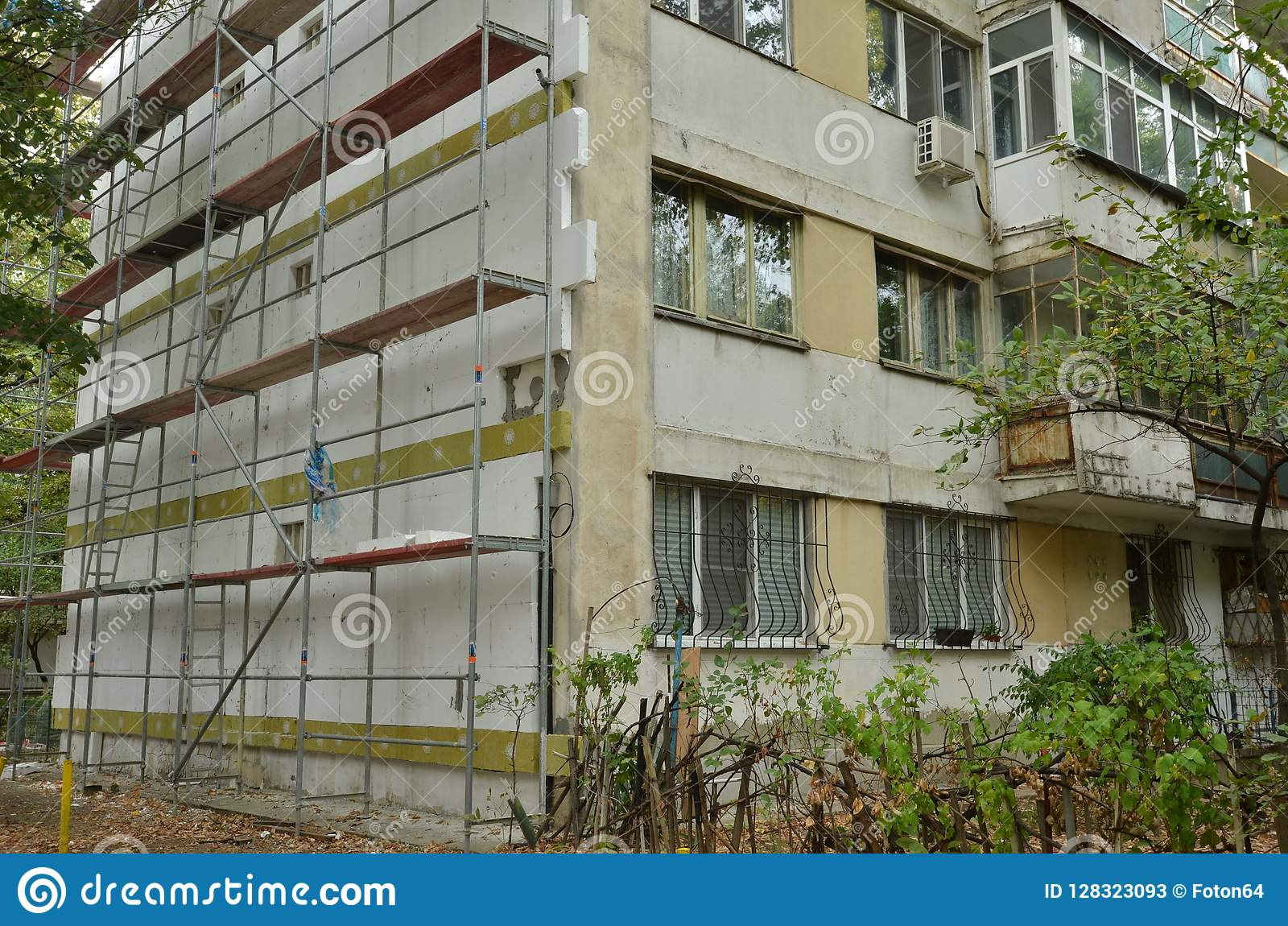 Thermal Insulation Of An Apartment Building Stock Image
