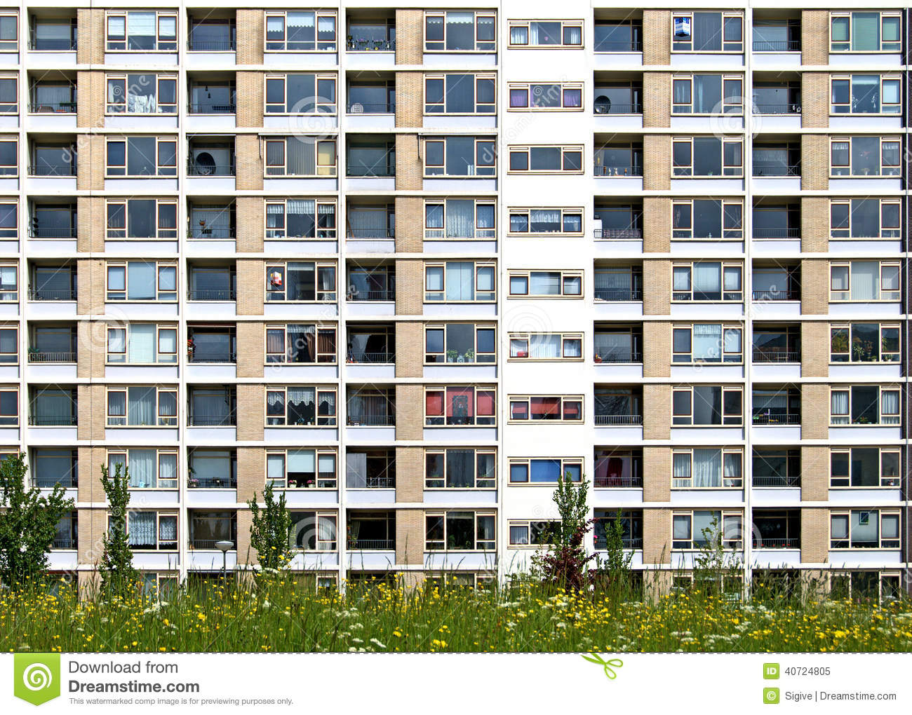 Apartment Building Front residential block stock photo - image: 40724805
