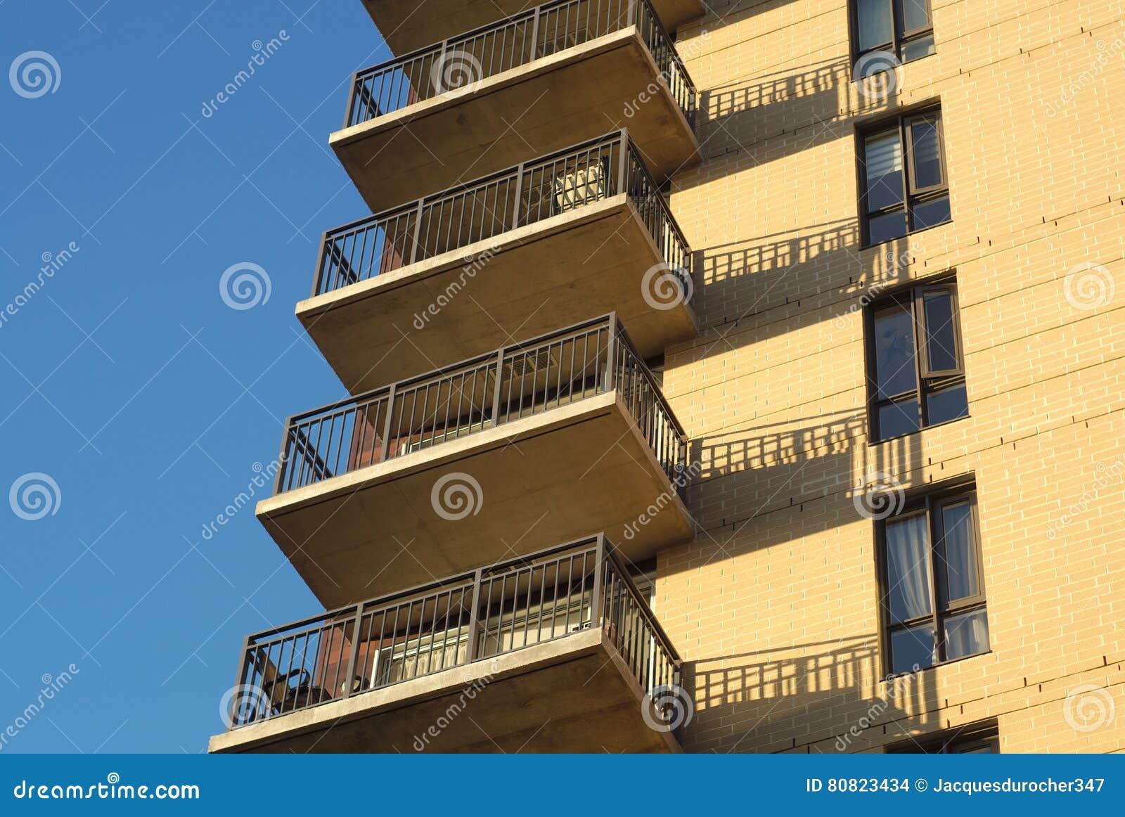 Residential Building Balconies Condominium Apartments Modern