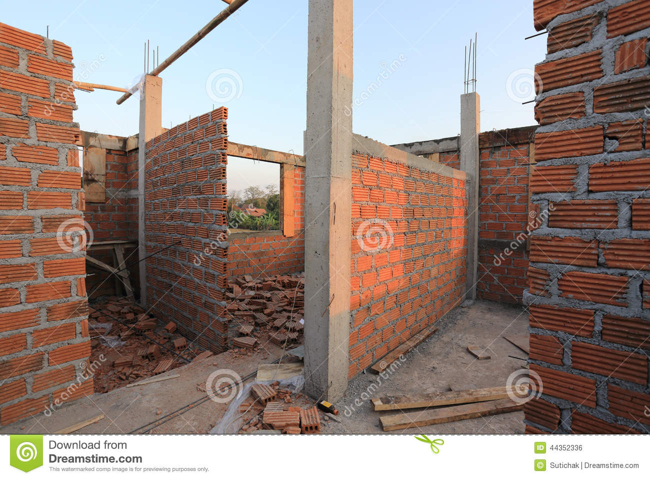 Residential Building Construction Site Stock Photo - Image ...